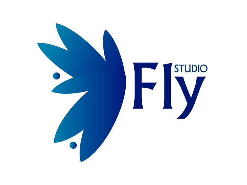 "Logo for - ""Fly Studio"" butterfly logo butterfly logos logo design flystudio studio fly logotype landing vector web illustration icon ivanlife frizvan fiv design logo"