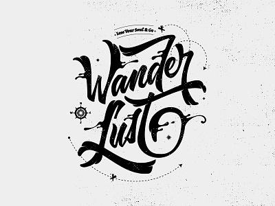 Wanderlust t-shirt logo illustration design custom type hand drawn brush script lettering typography brush lettering hand lettering
