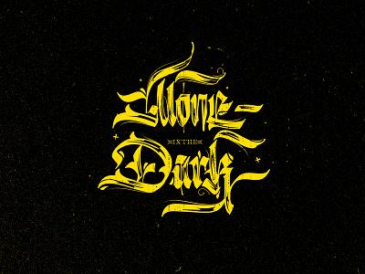 Alone in The Dark gothic lettering fraktur textura blackletter brush script brush lettering logo design illustration typography lettering hand lettering hand drawn custom type