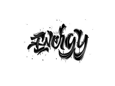 Energy t-shirt logo design brush script typography lettering hand lettering hand drawn illustration custom type brush lettering