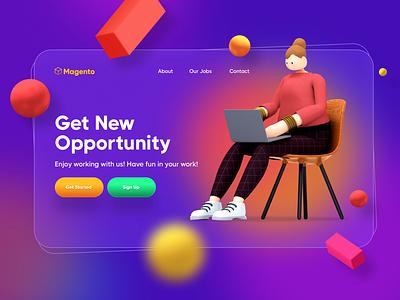 Job Opportunity - Hero Header web visual design design ui ui design