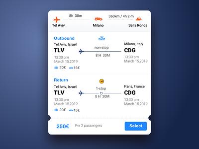 Airline ticket Car rental cards travel app web ux design app ui concept ui