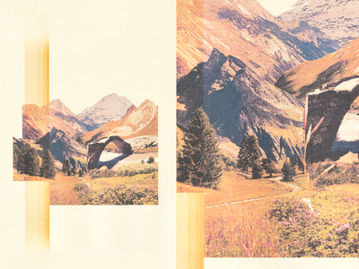 Vanoise National Park vintage tribute nature national park scanning texture cutout alps poster mountains print collage