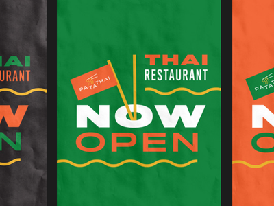 Thai Restaurant Opening Poster layout branding restaurant thai thaifood restaurant identity restaurant branding key visual poster colours type minimal flat