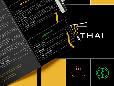 Thai Restaurant Branding branding logo design branding grid layout grid design flat design thai food food restaurant menu design restaurant branding