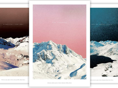 Mountain Posters peak snow alps fance lake sunset winter pink landscape art print poster photography mountains collage