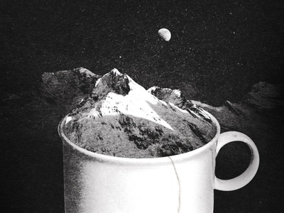 My cup of tea. blackandwhite alps peak snow night moon tea mountains design illustration poster print collage