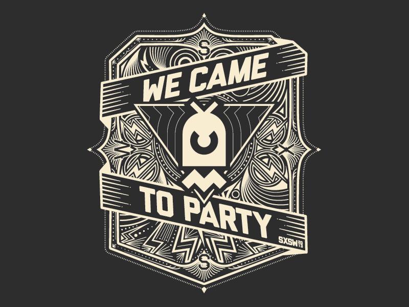 SXSW 13 shirt design sxsw chaotic moon shirt party illustration badge