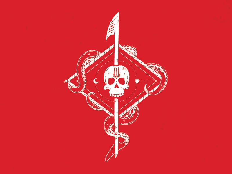 Mutiny Insignia harpoon tentacles skull insignia logo paintball mutiny