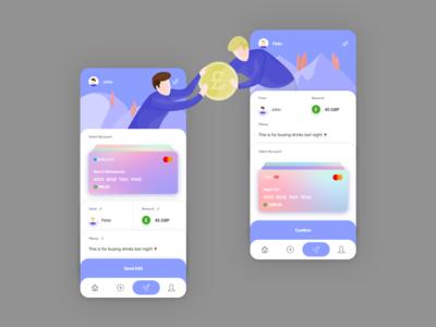 Money Transfer App Concept adobexd protoype android ios money flat minimalism clean ui ux ui  ux gradient illustration vector branding app design app