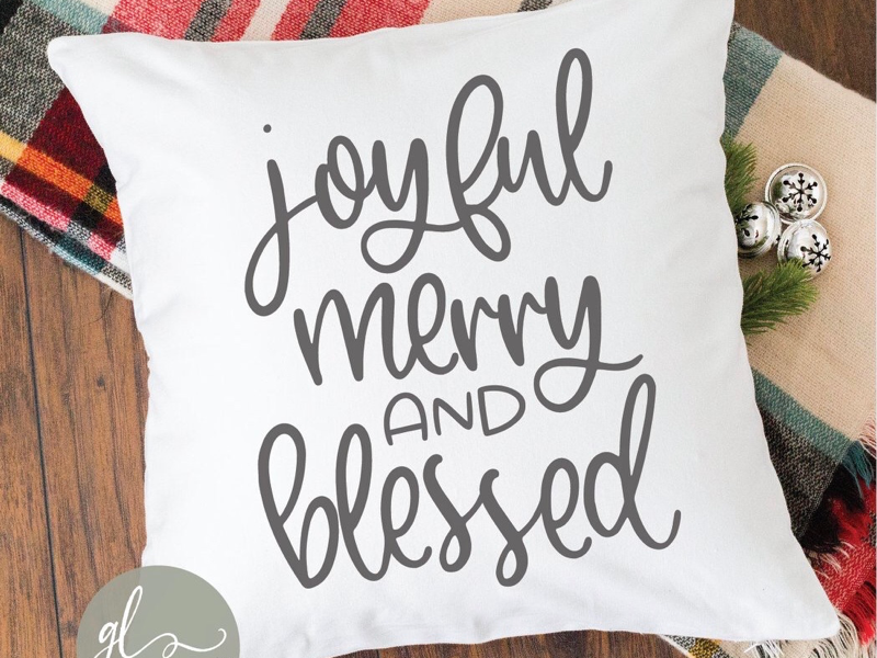 Joyful Merry And Blessed diy silhouette cameo cricut maker blessed merry joyful christmas cut file svg