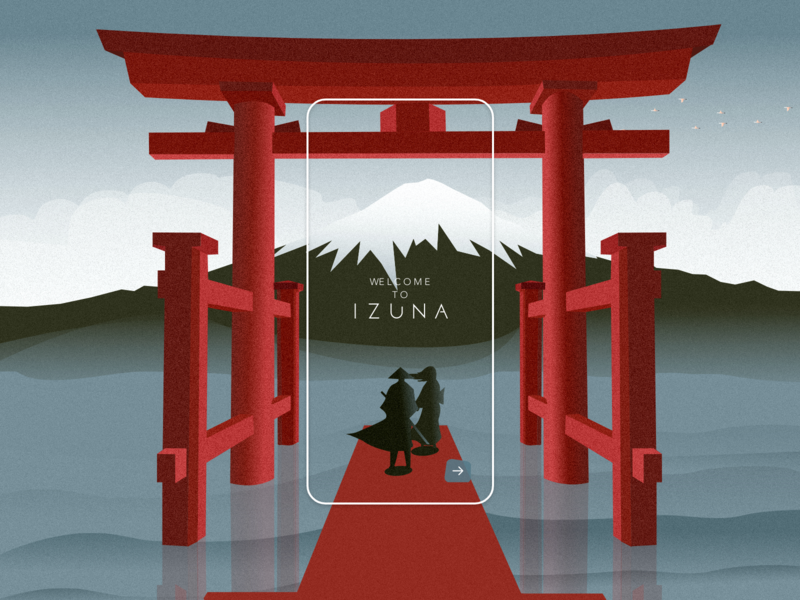 Izuna onboarding page with animation