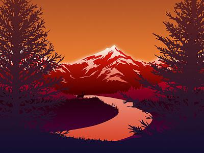 Red Mountains | Free Vector Poster affinity designer red deer landscape river mountains freebie design free vector illustration