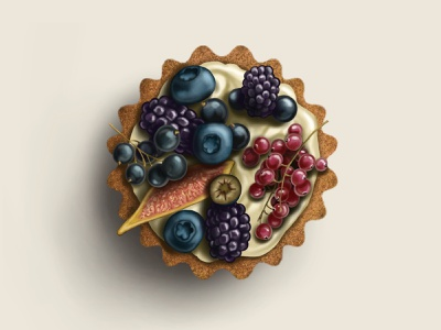 Tartlet with fruit 🧁 2d art food drawer art food art food illustration tartlet sweets food drawing procreate illustrator illustration graphic design 2d