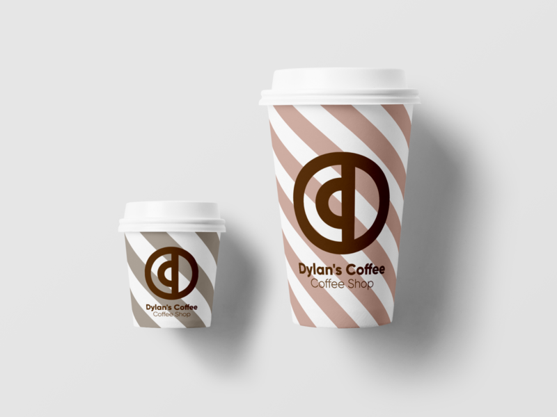 Dylan's Coffee: Coffee Shop Logo - Day 6 - Daily Logo Challenge minimal minimalism coffee bean coffeeshop coffee cup vector illustration illustrator branding graphic  design design logo dailylogochallenge 50daylogochallenge