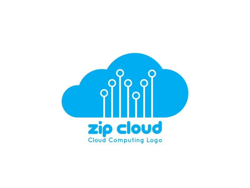 Zip Cloud: Cloud Computing Logo - Day 14 brandidentity minimal logocreation logocreator logoforsale logos logodesign logo design icloud dropbox google drive cloud computing cloud app cloud brand design graphic  design branding design logo