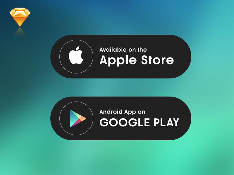 Download App Button clean free sketch download button google apple app button ux ui