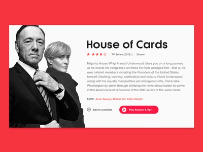 House of Cards - Movie Card house of cards dailyui netflix modern material design flat clean minimal design concept ux ui