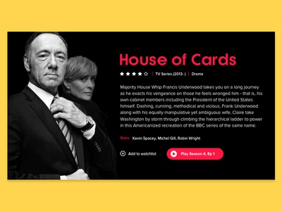 Movie Card black version house of cards dailyui netflix modern material design flat clean minimal design concept ux ui