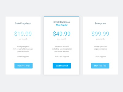 Minimal Pricing Table simple web card ui ux table pricing