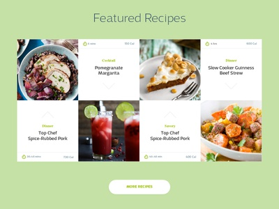 Featured Recipes Section post minimal fresh drink article grid food website ux ui blog