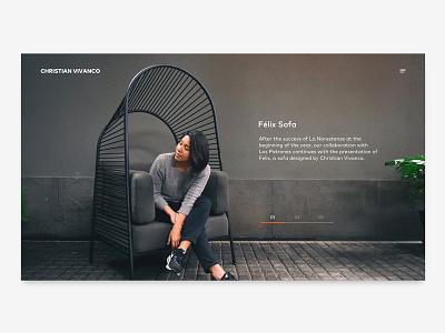 Felix Sofa furniture product web landing page concept minimal ui