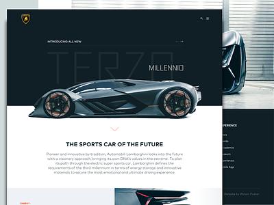 Lamborghini Terzo Millennio web design car lamborghini product website landing page concept minimal ui
