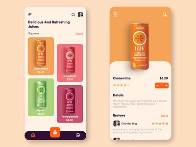 Online Juice App appui navigation bar minimal app food app juice food