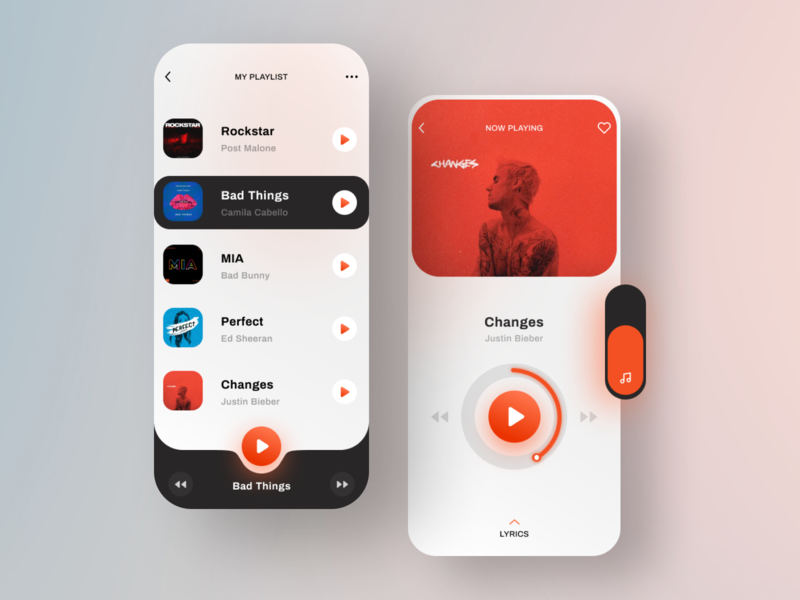 Music Player App UI Concept interface app design songs ui design minimal design uidesign uiux appui ui app music app mobile music player music
