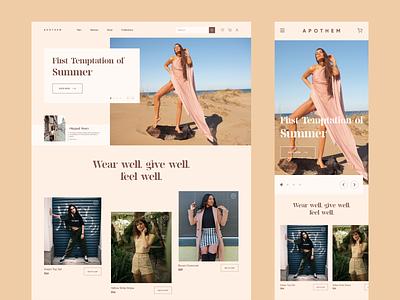 Apothem - Landing Page UI Design apparels wbpage web responsive women fashion fashion website fashion minimal web page homepage landing page ui  ux ux ui design ui design minimal