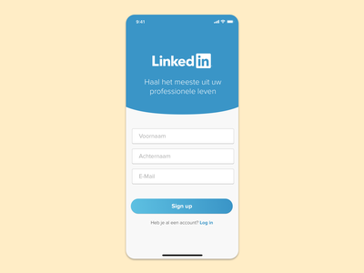 LinkedIn Mobile Sign Up flat ux userinterface ui linkedin design dailyui 001 dailyui