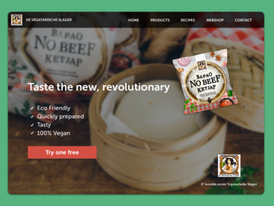 Landing page for the vegetarian butcher