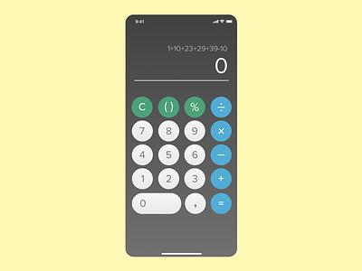 Basic Calculator app phone sketch dailyui004 ux ui dailyui