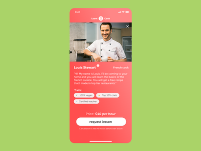 Learn to cook from a real chef teach cook chef app sketch ux ui dailyui dailyui006