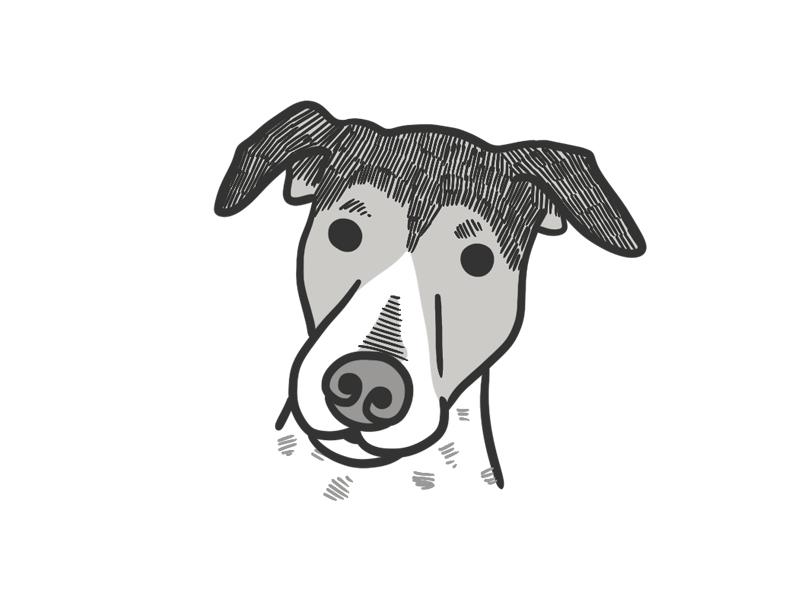 Cali art animal grayscale dog illustration