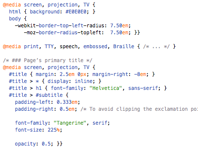 indentation text css source code