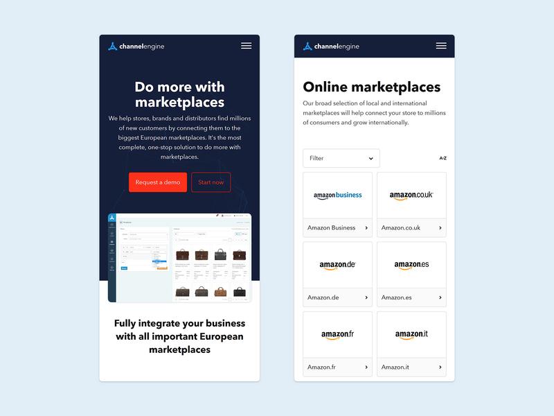 ChannelEngine - Mobile e-commerce design mobile app design mobile web channelengine channels cms e-commerce design ui ux