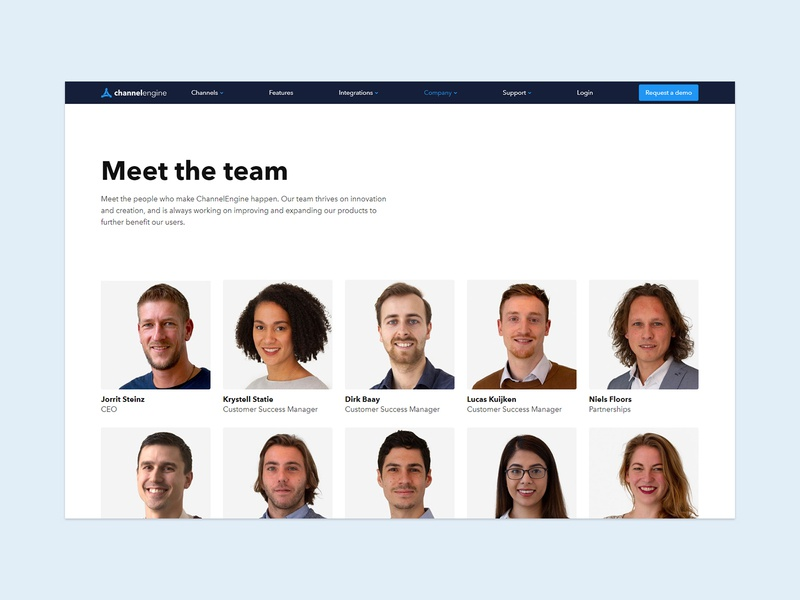 Meet the team web branding typography design ui ux channelengine illustration website e-commerce e-commerce design