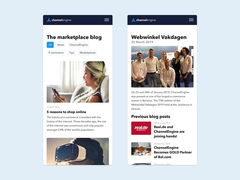 The marketplace blog blog article blog design blog typography e-commerce channelengine website web ux design ui e-commerce design