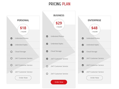 Pricing Table Design For AppiE