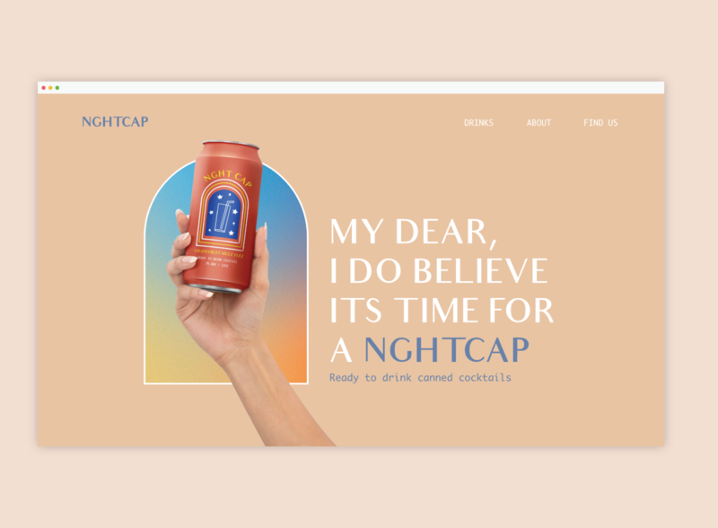 Website for NghtCap Canned Cocktail website design foodandbeverage drink alcoholbranding website webdesign ui branding typography design graphic design
