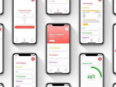 Munz App - Budgeting budget finance typography graphic design ui  ux app budgeting finance app app design design