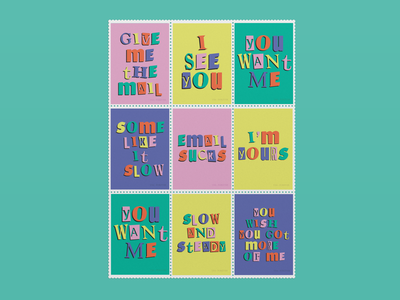 Postage Stamp Set envelope postage stamps stationary typography stamps graphic design design