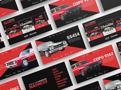 Muscle Car Madness - Car Evolution cars typography ux  ui webdesign branding design ui graphic design