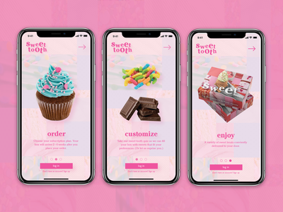 Sweet Tooth App subscription subscriptionbox logo ux ui app design app typography branding graphic design design