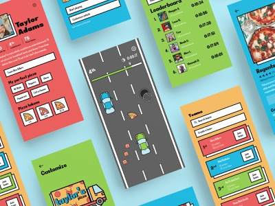 Delivery Dash Game - App UI typography food foodapp pizza logo ux branding app app design ui graphic design design