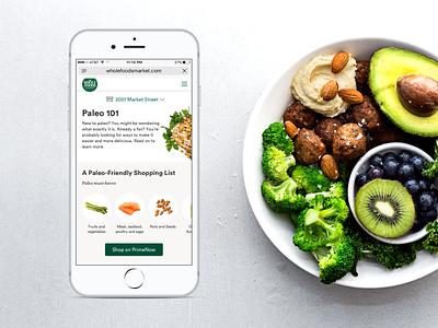 Paleo 101 website concept website web ux ui dietary food diet specialdiet wholefoodsmarket wholefoods paleo