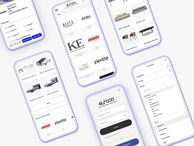 EUROOO clean mobile design furniture app furniture platform design platform ecommerce ux ui design ui