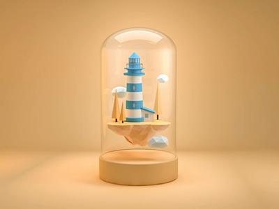 Floating island lighthouse decoration island floating floating island 3d animation 3d practice c4d rebounds
