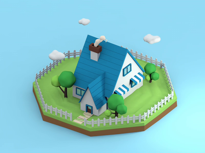Lovely house illustration village holliday summer countryside house cinema 4d c4d 3d animation 3d